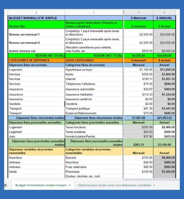 budget minimaliste simple revenu